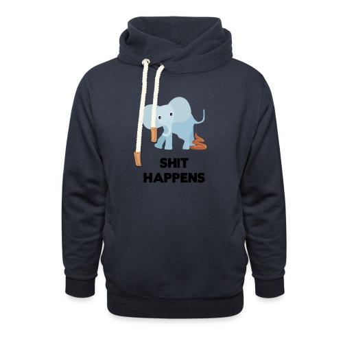 olifant met drol shit happens poep schaamte - Unisex sjaalkraag hoodie