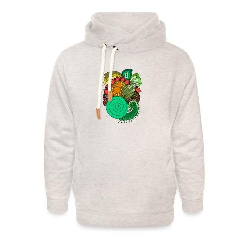 Coloured Leaf Mandala - Unisex Shawl Collar Hoodie