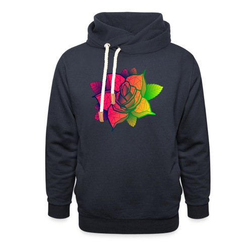 rose tricolore - Sweat à capuche cache-cou unisexe