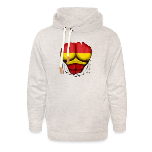 España Flag Ripped Muscles six pack chest t-shirt - Unisex Shawl Collar Hoodie