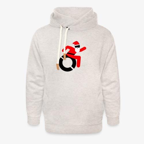 Kerstman in een rolstoel, speciaal voor de Kerst - Unisex sjaalkraag hoodie
