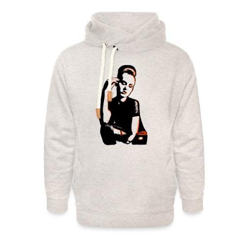ATTITUDE (orange) - Unisex hoodie med sjalskrave
