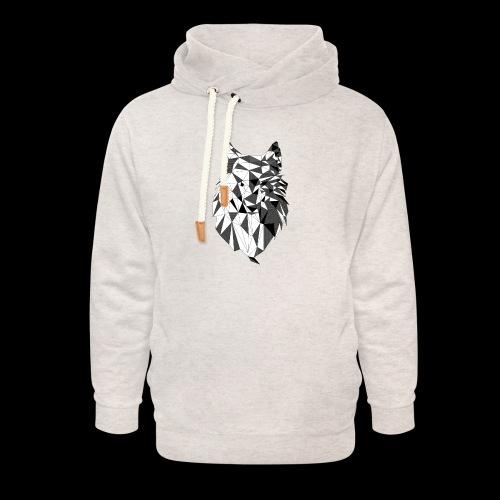 Polygoon wolf - Unisex sjaalkraag hoodie