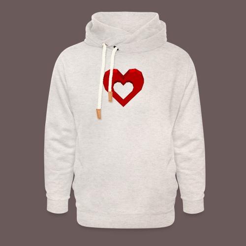 Heart Illusion - Unisex hoodie med sjalskrave