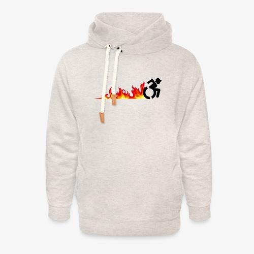 Snelle rolstoel gebruiker, vuur banden, roller 002 - Unisex sjaalkraag hoodie