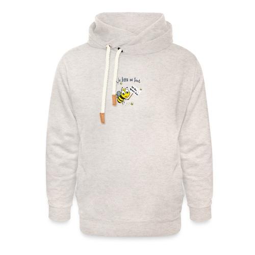 Save the bees with this cute design! Red de bij - Unisex sjaalkraag hoodie