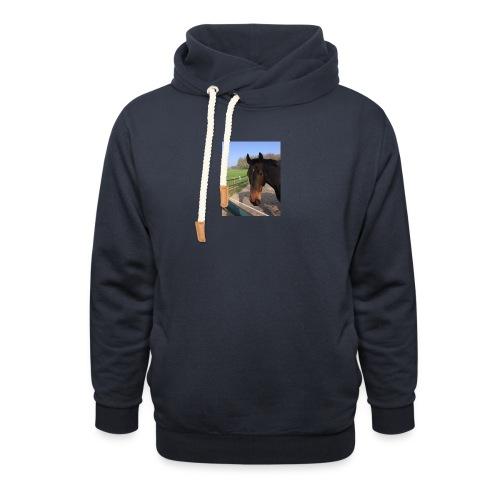Met bruin paard bedrukt - Unisex sjaalkraag hoodie