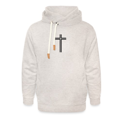 cross transparent line - Unisex hettegenser med sjalkrage