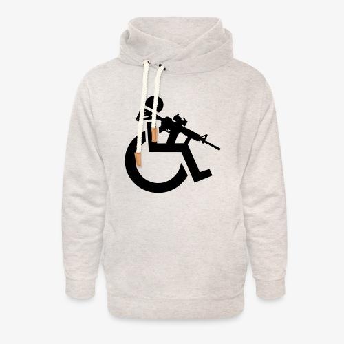 Gewapende rolstoel gebruiker met geweer, wapen - Unisex sjaalkraag hoodie