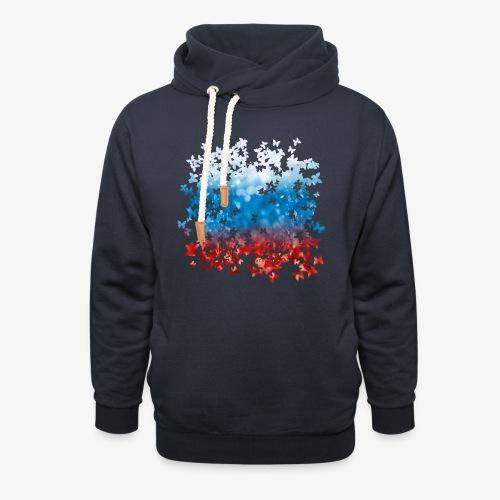 06 Russland Flagge Fahne Russia Schmetterlinge - Schalkragen Hoodie