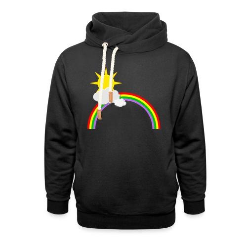Regenbogen, Sonne, Wolken - Schalkragen Hoodie