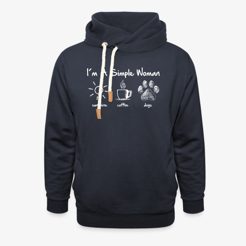 simple woman dog white - Schalkragen Hoodie