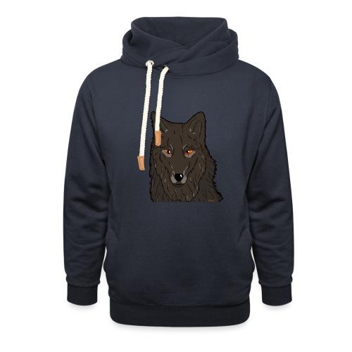 HikingMantis Wolf png - Hoodie med sjalskrave