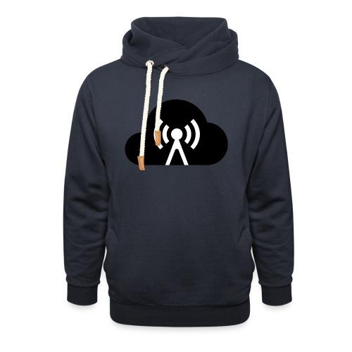 Cloud Cast Wolke schwarz mit Schriftzug - Schalkragen Hoodie