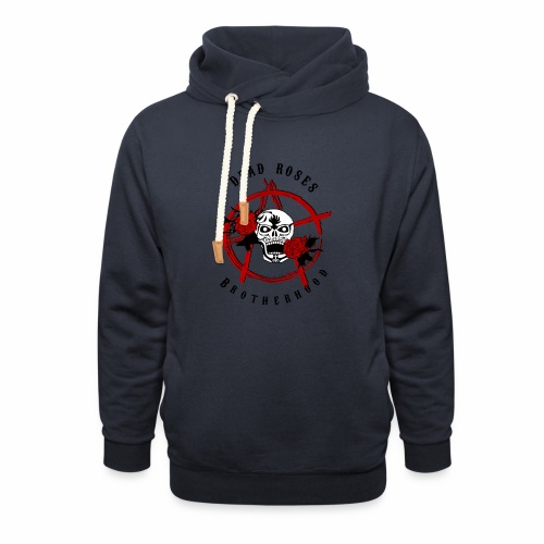 Dead Roses Anarchy Skull Black - Shawl Collar Hoodie