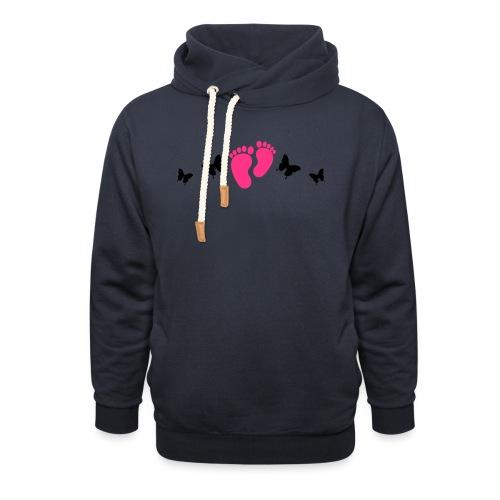 vlinders en baby voetjes - Sjaalkraag hoodie