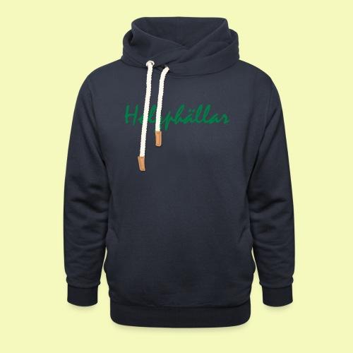 Schriftzug Grün - Schalkragen Hoodie