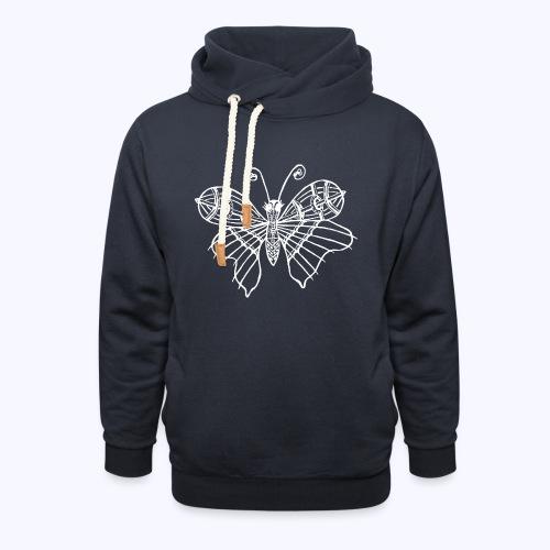 Schmetterling weiss - Unisex Schalkragen Hoodie