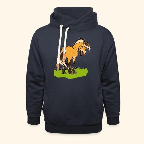 Freundliches Fjordpferd (Ohne Text) Weisse Umrisse - Sweat à capuche cache-cou