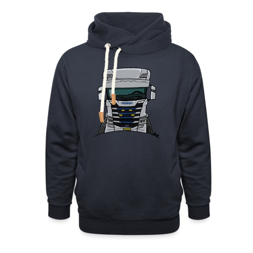 0814 S truck grill wit - Sjaalkraag hoodie