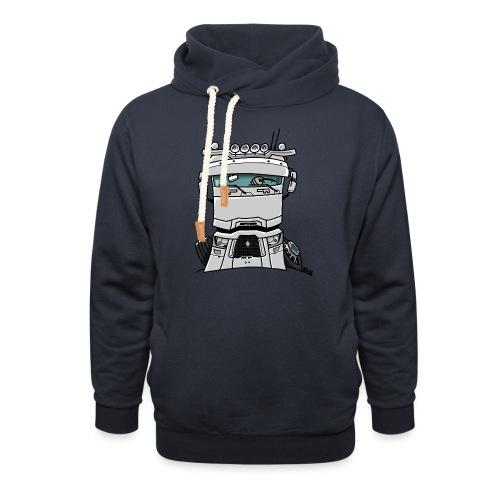 0813 R truck wit - Sjaalkraag hoodie