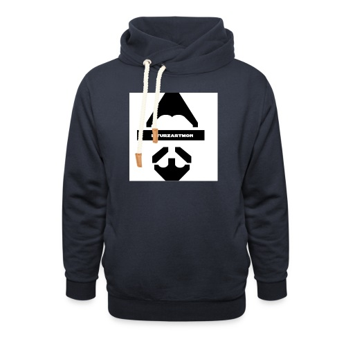 Biturzartmon Logo schwarz/weiss glatt - Schalkragen Hoodie