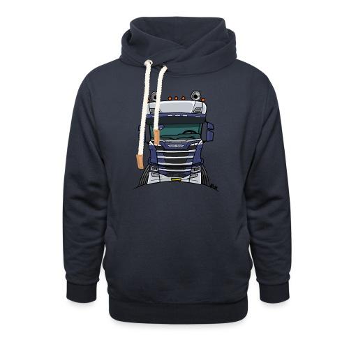 0814 S truck blauw wit - Sjaalkraag hoodie