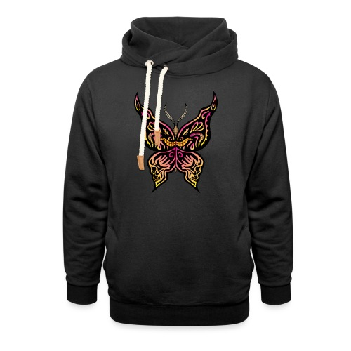 Tribal butterfly with face and skulls drawn on the - Felpa con colletto alto