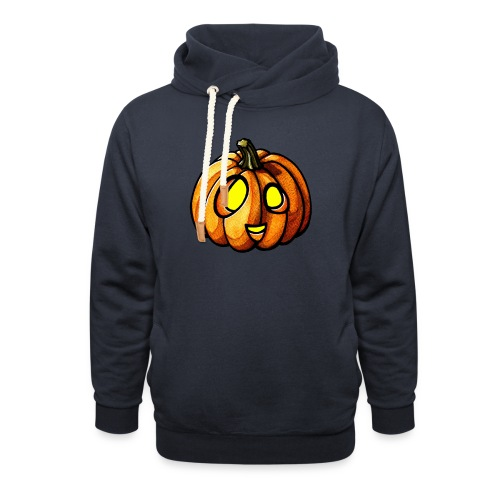 Pumpkin Halloween watercolor scribblesirii - Hoodie med sjalskrave