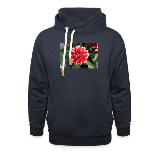 rode bloem afdruk/print - Unisex sjaalkraag hoodie