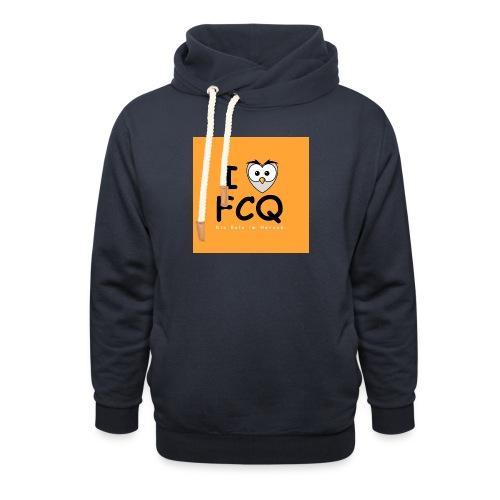 I Love FCQ button orange - Schalkragen Hoodie