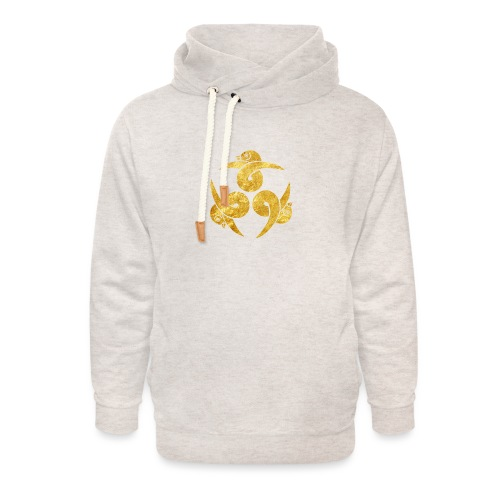 Three Geese Japanese Kamon in gold - Unisex Shawl Collar Hoodie