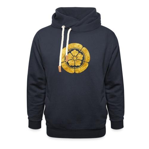 Oda Mon Japanese samurai clan faux gold on black - Unisex Shawl Collar Hoodie