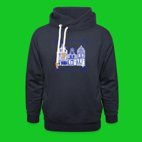 Holland Grachtenpanden Delfts Blauw - Sjaalkraag hoodie