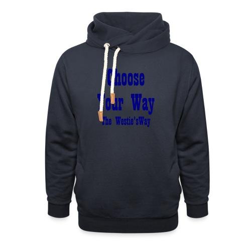 Choose Your Way Navy - Bluza z szalowym kołnierzem