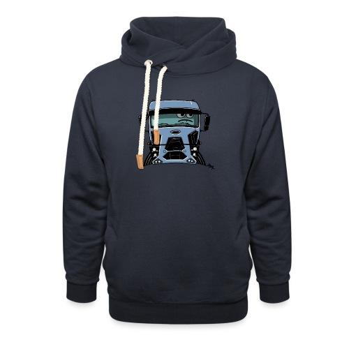 0812 F truck blue - Sjaalkraag hoodie