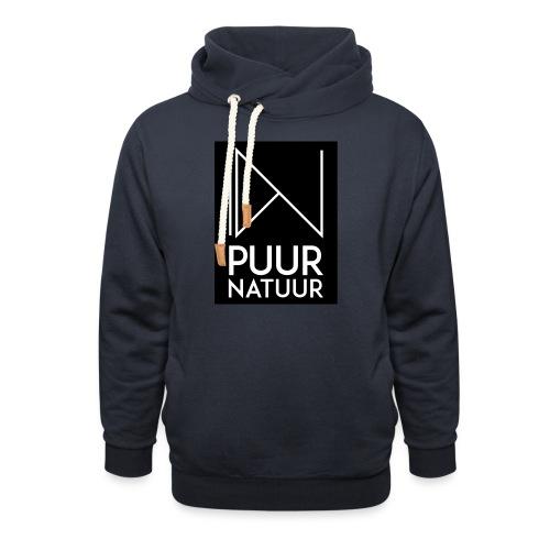 Logo puur natuur negatief - Unisex sjaalkraag hoodie