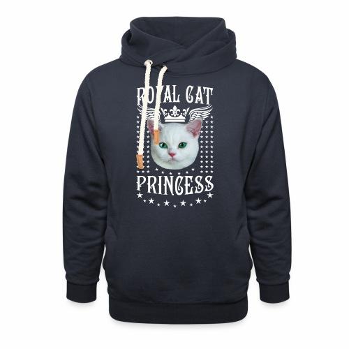 26 Royal Cat Princess white feine weiße Katze - Schalkragen Hoodie