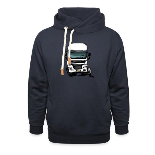 0810 D truck CF wit - Sjaalkraag hoodie