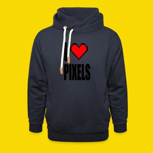 I Love Pixels - Bluza z szalowym kołnierzem
