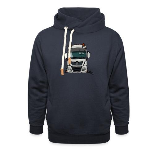 0819 M truck white - Sjaalkraag hoodie