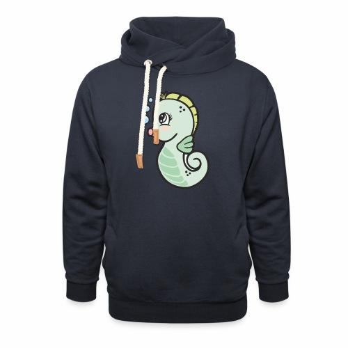 Seepferdchen grün - Schalkragen Hoodie