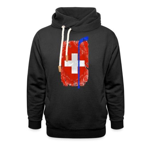 Schweizer Flagge Hockey - Unisex Schalkragen Hoodie