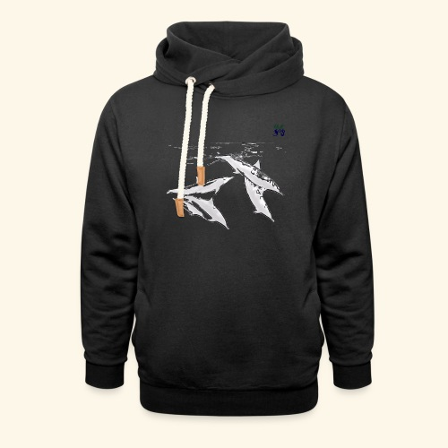 5 Gray dolphins - Shawl Collar Hoodie