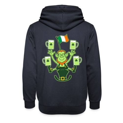 Leprechaun Juggling Beers and Irish Flag - Shawl Collar Hoodie