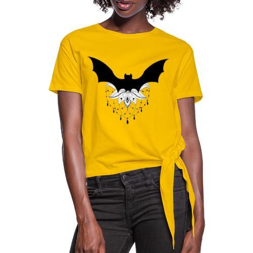 chauve-souris mandala - T-shirt à nœud Femme
