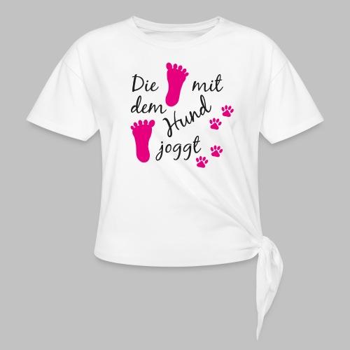 Die mit dem Hund joggt - Pink Edition - Knotenshirt