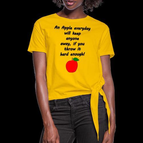 Apple Apfel Doctor Zitat Spruch Lustig - Frauen Knotenshirt
