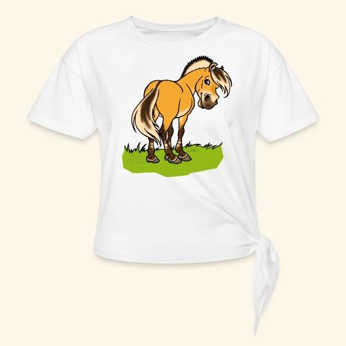Freundliches Fjordpferd (Ohne Text) Weisse Umrisse - T-shirt à nœud