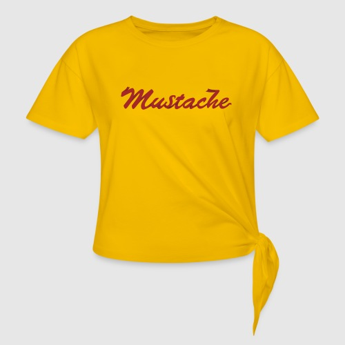 Red Mustache Lettering - Knotted T-Shirt
